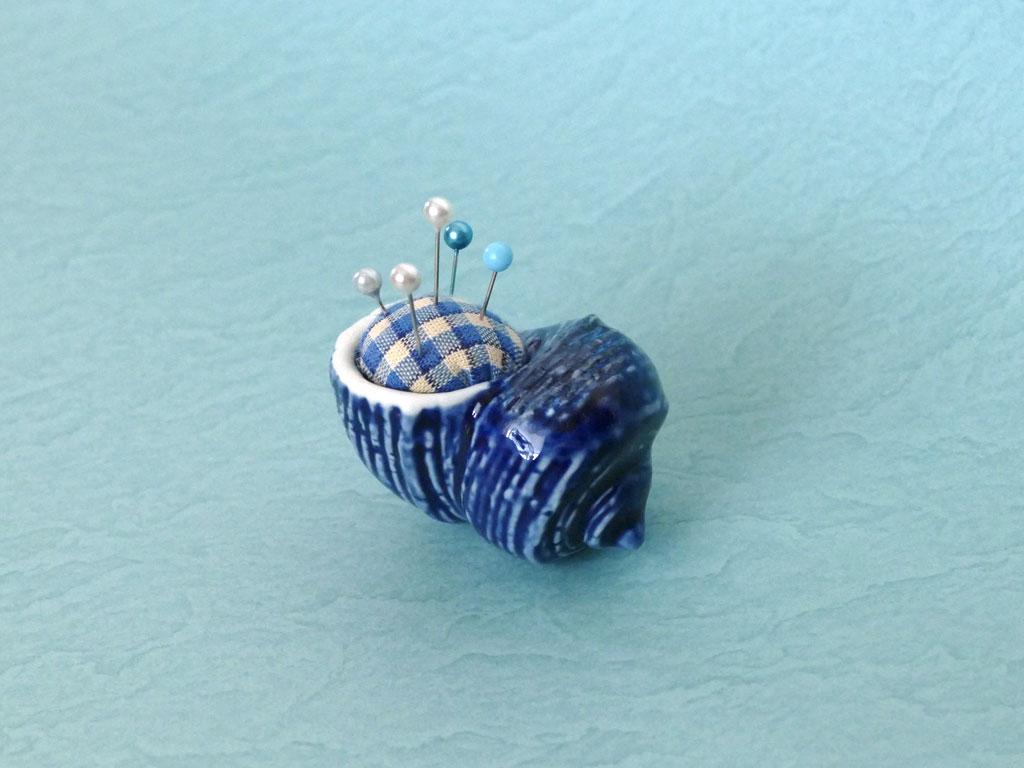 貝殻オブジェをピンクッションにする