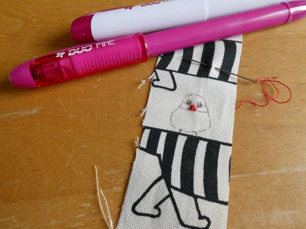 リサ・ラーソンのカットクロスで文鳥刺繍入りトートバッグ11