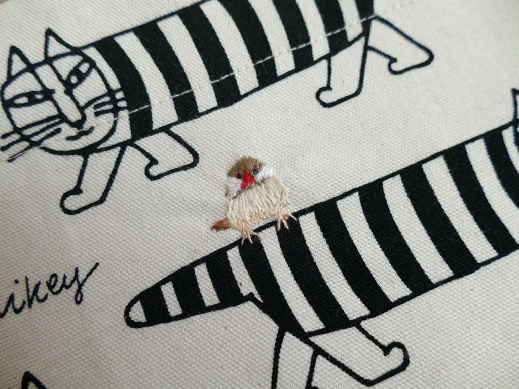 リサ・ラーソンのカットクロスで文鳥刺繍入りトートバッグ10