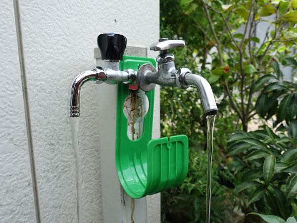 分岐バルブ+L型ユニオンナット+前からの水栓