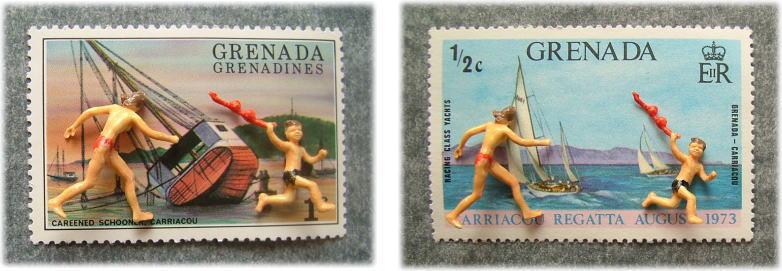 切手とPreiserフィギュア5