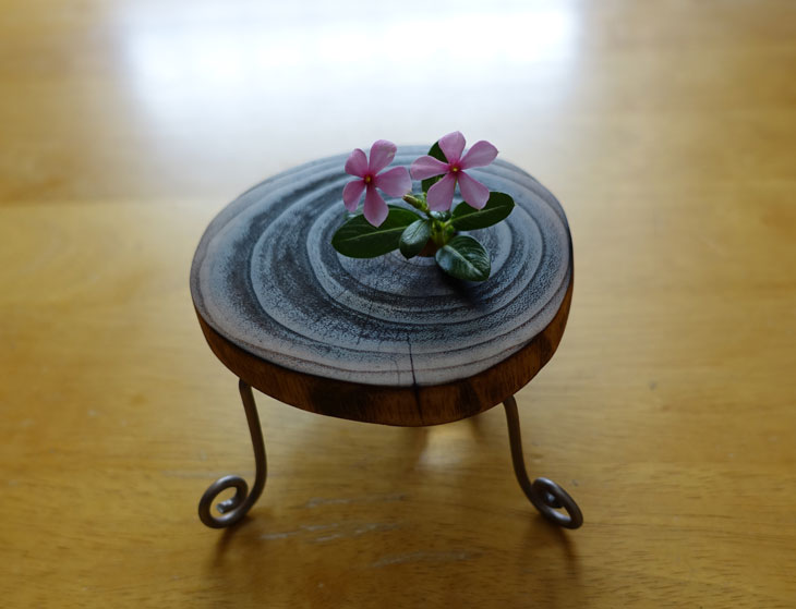 穴あき丸太の輪切りコースターで作るミニチュアテーブル10