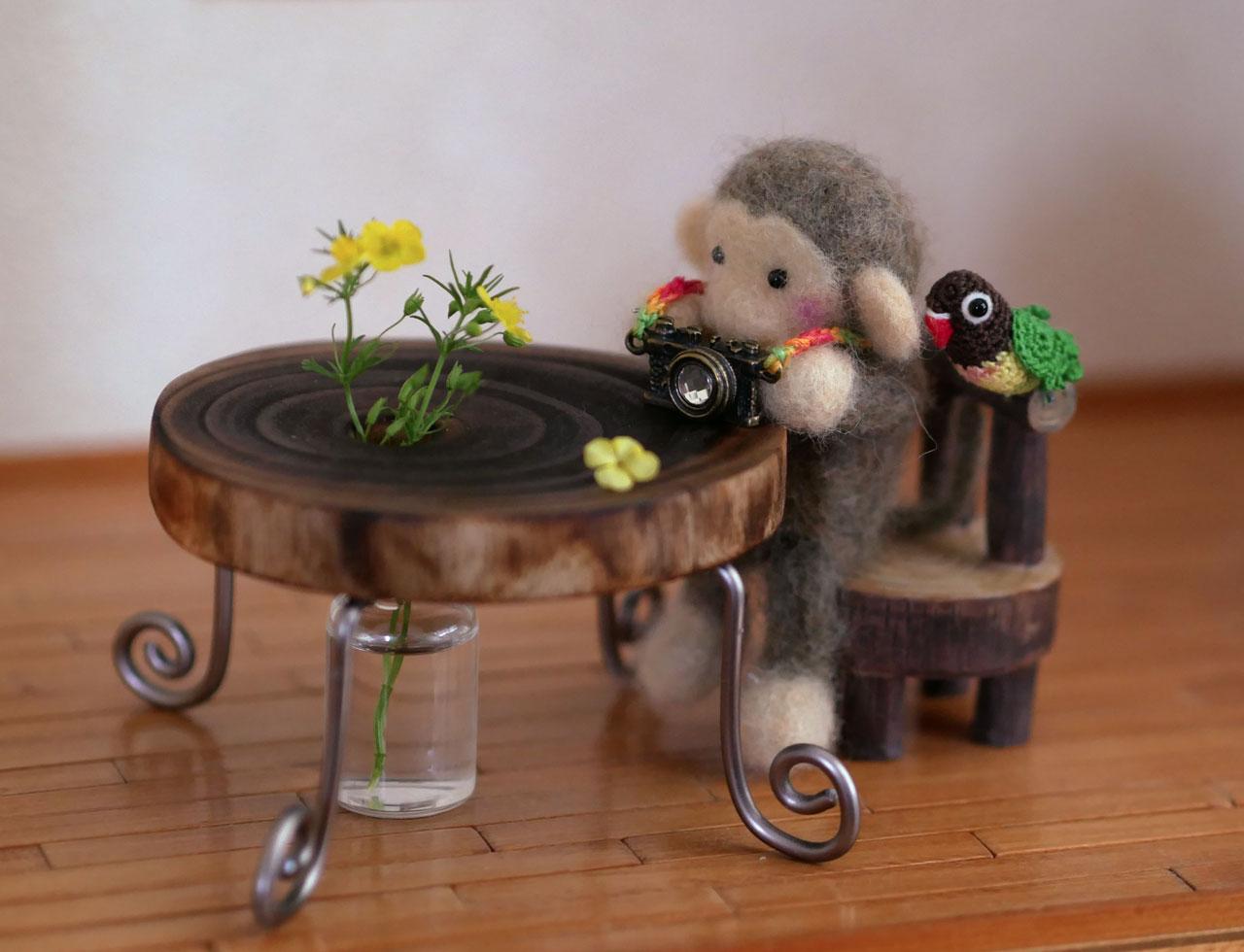 穴あき丸太の輪切りコースターで作るミニチュアテーブル12