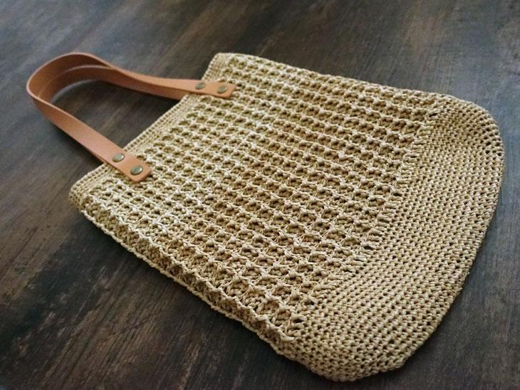 エコアンダリヤのワッフル編みバッグ12