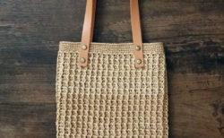 エコアンダリヤで編む<br>ワッフル編のぺたんこバッグ