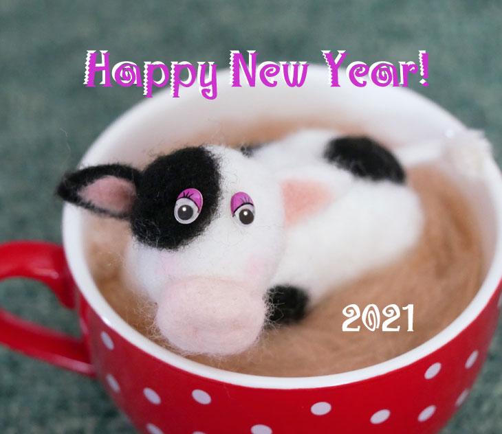 羊毛フェルトの牛1